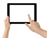 female teen hands using tablet pc with white screen