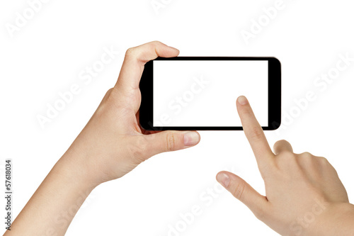 female teen hands using mobile phone with white screen - 57618034