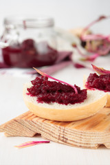 Piece of bread with beetroot marmalade