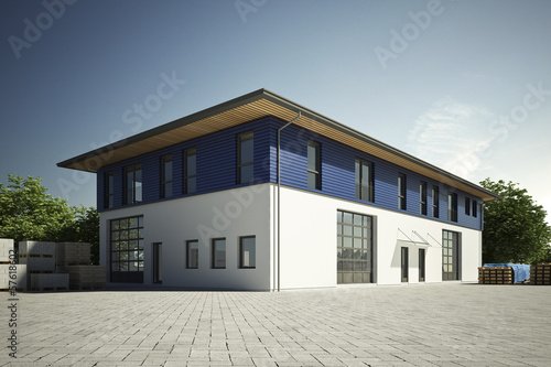 Leinwanddruck Bild Gewerbehalle mit blauer Fassade
