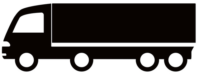 isolated black truck silhouette - free delivery symbol