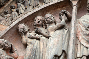 Colmar - Cathedral of Saint Martin, reliefs on the portal