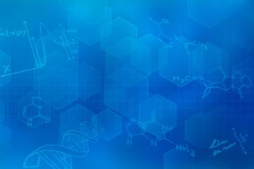 Blauer futuristischer Hintergrund mit chemischen Strukturformeln