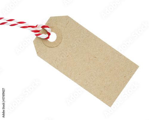 Blank Cardboard Tag Label with Red and White String