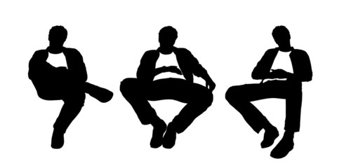 young man seated in the armchair silhouettes set 1