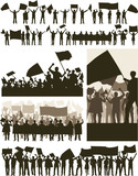 Editable vector silhouettes of people demonstrations