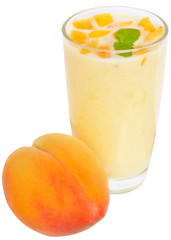 Milk shake from peach yogurt
