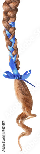 Women braid decorated with a blue bow isolated on white.