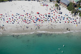 Aerial view of tourists on sunny beach in Cape Town, South Africa