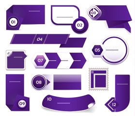 Set of blue-violet vector progress, version, step icons. eps 10