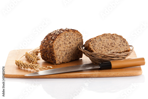 whole grain bread isolated on white background.