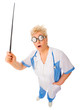 Mature funny doctor with pointer stick