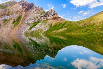 Reflections on the Asnos lake in Panticosa, Spanish Pyrenees