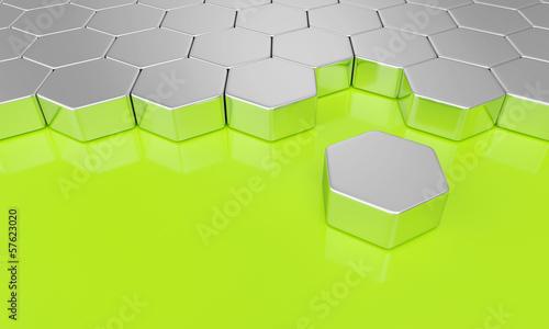 Grün Silber - Sechseck Bausteine
