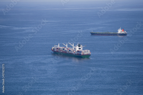 Aerial view of container ships at sea