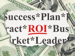 Finance concept: ROI on Money background