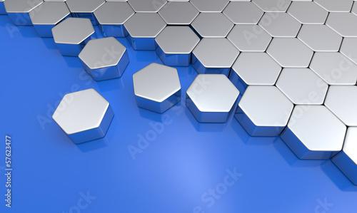 Silber Sechseck Baustein Konzept auf Blau