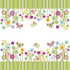 cute frame with flowers  and butterflies