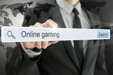 Online gaming written in search bar