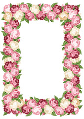 Vector frame with pink and white vintage roses.