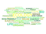 Ecology and sustainable development word cloud poster