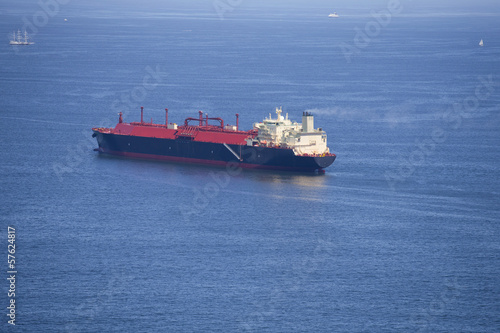 Natural gas cargo ship at sea