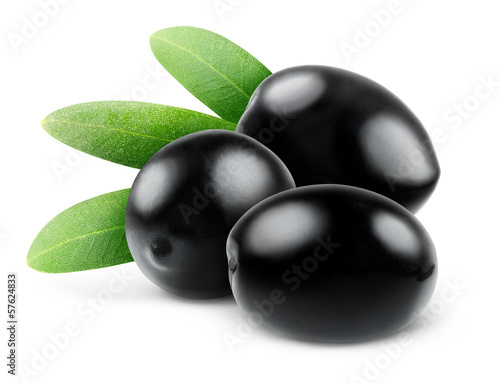 Black olives isolated on white, selective focus