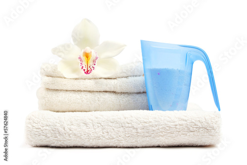 Clean laundry on white background. - 57624840
