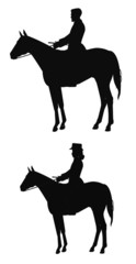 riders on a horse in silhouette