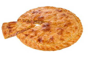 A fish pie with a golden egg washed crust