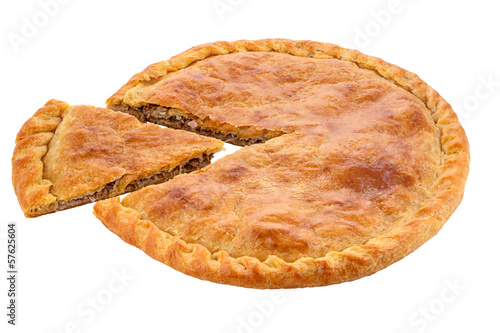 A meat pie with a golden egg washed crust