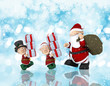 Christmas background with Santa and his helpers