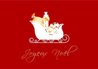 Joyeux Noël - traineau et cadeaux dorés - fond rouge