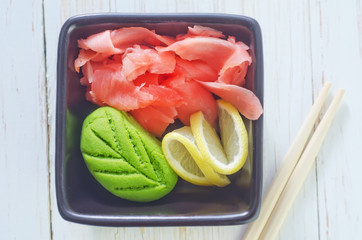 wasabi and ginger in bowl
