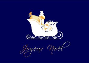 Joyeux Noël - traineau et cadeaux dorés - fond bleu