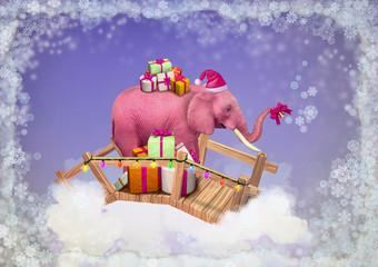 Pink elephant in the sky with Christmas boxes.