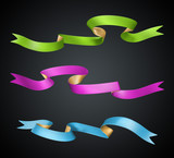 3d holiday ribbons set Isolated on black