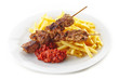 french fries and grilled kebab meat