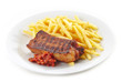 Grilled pork meat and french fries