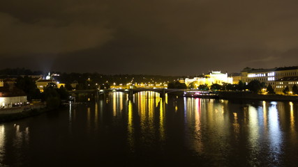 Vltava River at night. Prague. Czech Republic. Time Lapse.