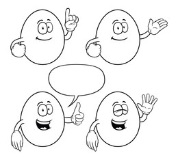 Black and white smiling eggs with various gestures.