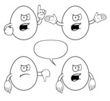 Black and white angry eggs with various gestures.