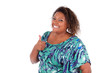African American woman smiling making thumb's up - Black people