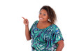 African American woman smiling pointing something - Black people