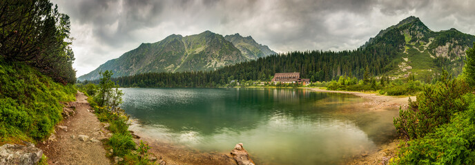 mountain landscape with mountain chalet