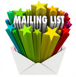 Mailing List Words in Star Envelope