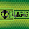 Alien Halloween card in vector format.