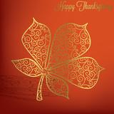 Filigree leaf Thanksgiving card in vector format.   poster