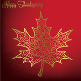 Filigree maple leaf Thanksgiving card in vector format. poster
