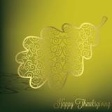 Filigree acorn leaf Thanksgiving card in vector format. poster